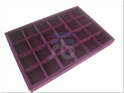 Purple 24 Compartments Jewelry Supplies Display Case