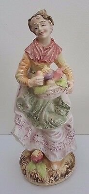Antique European Bisque Porcelain Fruit Seller Figurine / Statue