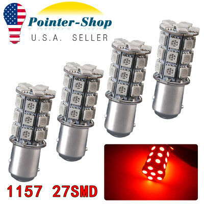 4x White 1157 BAY15D 80-SMD LED Light Bulbs Tail Brake Stop Backup Reverse 7528