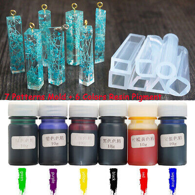 6 Color Silicone Resin Pigment Dye Colorant + 7 Pattern DIY Pendant Jewelry Mold