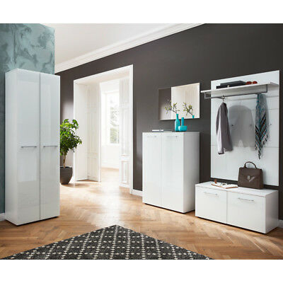 garderoben set glasfront wei schuhschrank bank mit polster flurgarderobe diele eur 395 10. Black Bedroom Furniture Sets. Home Design Ideas