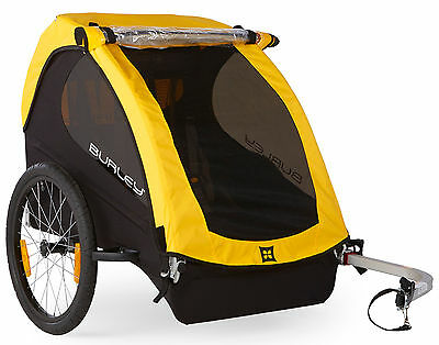 Burley Bee Compact Fold Bike Bicycle Trailer Wagon For 1 or 2 Kids Child Yellow
