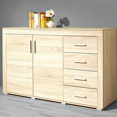 highboard boom kommode sonoma eiche wohnzimmer schrank vitrine mit beleuchtung eur 274 99. Black Bedroom Furniture Sets. Home Design Ideas