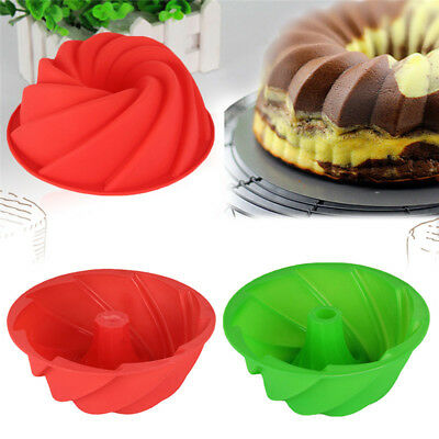 """7"""" Silicone Bundt CAKE PAN MOLD Red Kitchen Cookware Baking Pans Mould Spiral"""