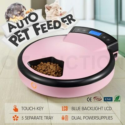 1.2L Automatic Pet Feeder Dog Cat 5 Meals Bowl Food Dispenser LCD Display Pink