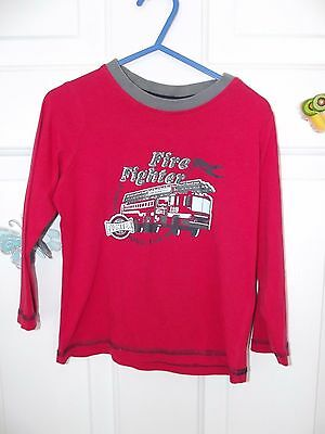 """Baby Boy Red """"fire Fighter"""" Long Sleeve Top In Size 12-24 Months"""