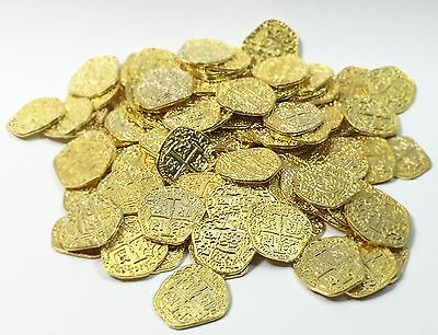 Pirate Treasure Coins - 100 Metal Gold Colored Doubloon Props