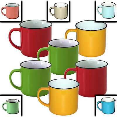 6x Keramik Becher in Retro-Emaille-Optik, Kaffee Tasse Kaffeetassen Kaffeebecher
