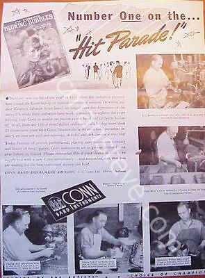CONN INSTRUMENTS AD 1950 - Blowing Bubbles #1 Hit Parade shows factory workers