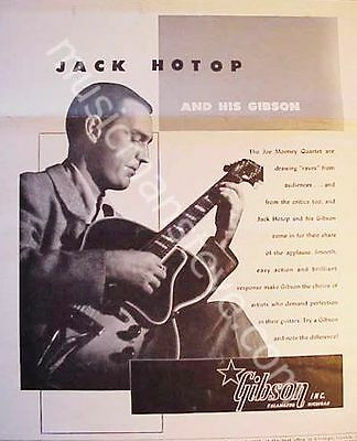 GIBSON GUITAR AD - 1948 JACK HOTOP playing Gibson  Archtop Electric (ES-250?)