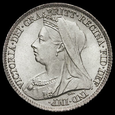 1900 Queen Victoria Veiled Head Silver Sixpence, Choice Uncirculated