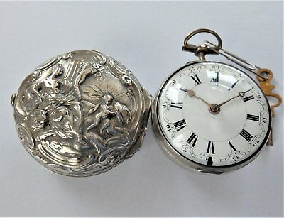 1772 Silver Repousse Pair Cased Verge Fusee Pocket Watch J Shearwood London Work