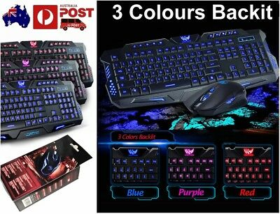 3 Color USB Wired Crack LED illuminated Backlit Pro Gaming Keyboard + Mouse Suit