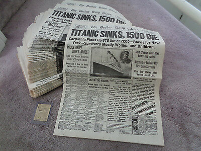 Original 1912 Titanic Newspaper AD + 100 Boston Globe April 16 1912 Newspapers