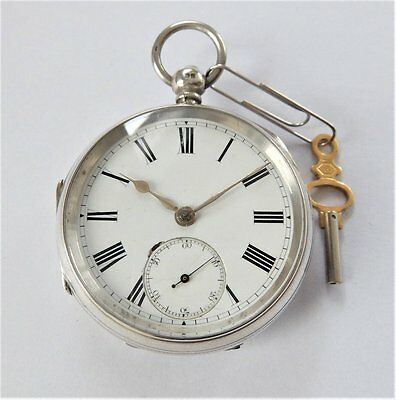 1886 Silver Cased Jewelled Fusee Pocket Watch In Working Order