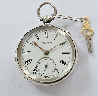 1880 Silver Cased Fusee Pocket Watch Rotherhams London In Working Order