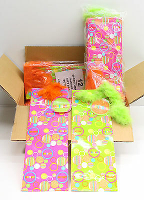 NEW Wholesale Job Lot 48 x Birthday Bottle Gift Bags Spots Furry Handle Free P&P