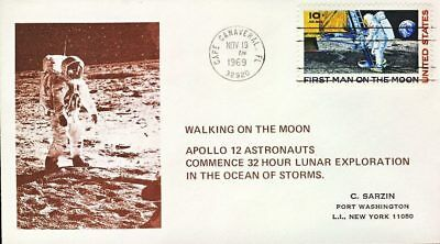 1969 Cape Canaveral First Man on the Moon Apollo 12 Astronauts stamp cover re...
