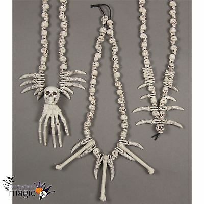 Skull Skeleton Hand Bone and Teeth Necklace Halloween Caveman Pirate Fancy Dress