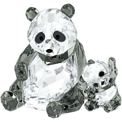 Swarovski Crystal Panda Mother With Baby 5063690.new In Box