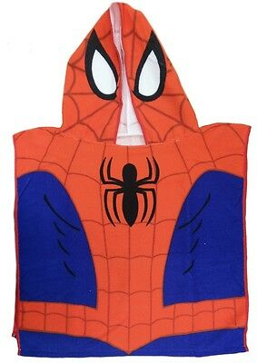 Childrens Boys Spiderman Poncho Hooded Beach Bath Towel Size Age 3 - 6 Years Old