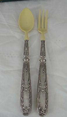Antique French Sterling Sterling Silver Salad Servers, Hallmarks Louis XVI Roses