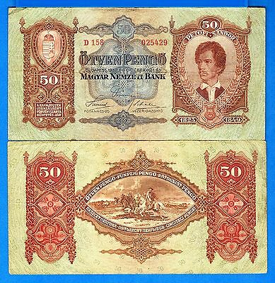 Hungary P-99 50 Pengo Year 1932 Circulated FREE SHIPPING