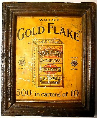 Vintage Will's Gold Flake Cigarettes Tin Sign In Old Wood Frame
