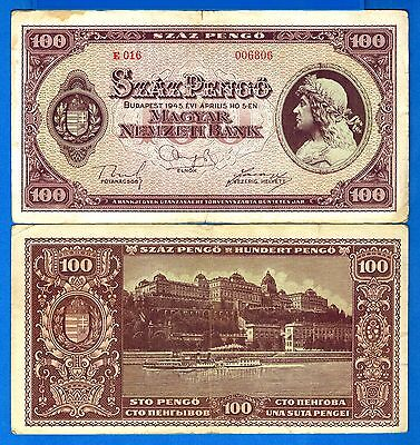 Hungary P-111 100 Pengo Year 1945 Circulated Banknote Europe