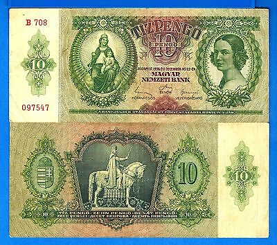 Hungary P-113 10 Pengo Year 1936 Circulated Banknote FREE SHIPPING