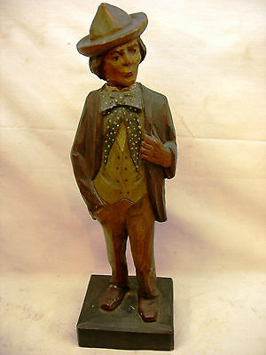 Karl Griesbaum Automation Bellow Hand Carved Wood Hobo Whistler Man Light German