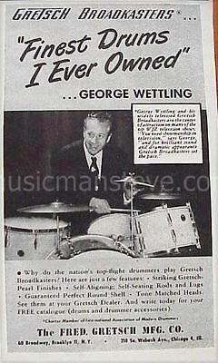 GRETSCH DRUMS AD 1949- BROADKASTERS - GEORGE WETTLING playing Broadkasters