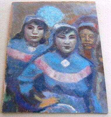 """VTG Acrylic Painting On Masonite Asian Women Attributed To James Trolla 20""""x 25"""""""