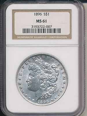1896 Morgan Silver Dollar-Nice Coin! **ngc Certified Ms 61** Free Shipping!