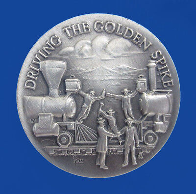 1972 Longines - Wittnauer Sterling Silver Art Medal - Driving the Golden Spike