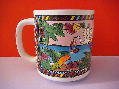 Coffee Cup Tea Mug: FLORIDA Great Egret Parrots Flamingos Ocean Sailboat Flowers