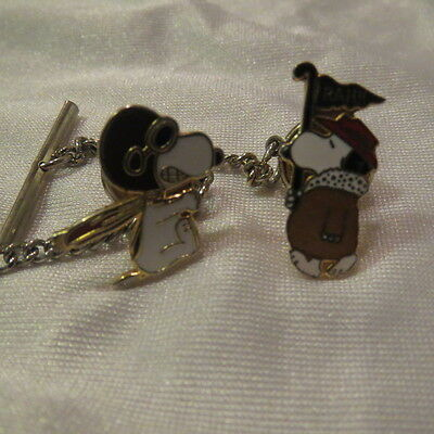 2 VTG Snoopy Tie Clip with chain Flying Ace NASA Enamel Marching W/ RAH!! Sign