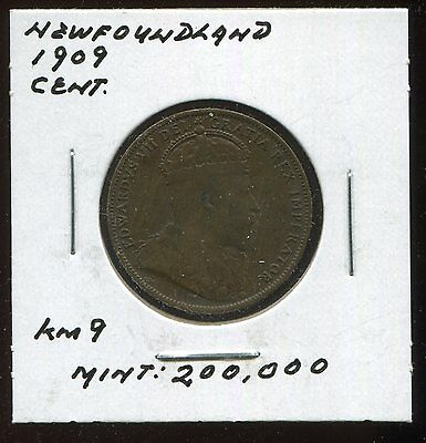** Newfoundland 1909 (Edward Vii) Cent ....scarce Minted 2Oo .k  **