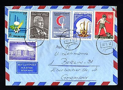 16282-SYRIA REPUBLIC-AIRMAIL COVER JDLIB to BERLIN (germany) 1965.SYRIE.aerien.