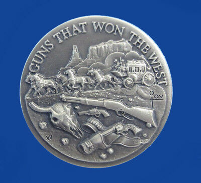 1972 Longines - Wittnauer Sterling Silver Art Medal - Guns that Won the West