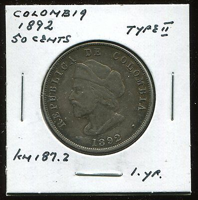 ** Colombia 1892 (Columbus) 50 Cents Silver  ...one Yr.type **
