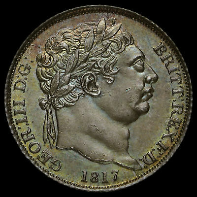 1817 George III Milled Silver Sixpence, A/UNC