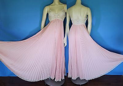 Vtg LUCIE ANN Blush Pink Sheer LACE HUGE Full SWEEP Pleat NiGHTGOWN Negligee 36
