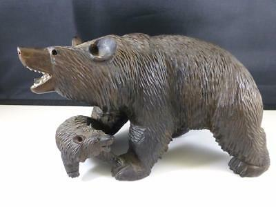 Antique Hand Carved Black Forest Bear & Cub baby w/ Glass Eye Estate