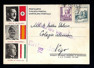 16460-GERMAN EMPIRE-MILITARY Postcard.Hitler.FRANCO.Mussolini.MALAGA.1937.WWII.