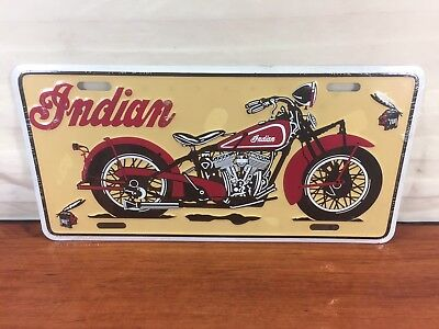 Antique Motorcycle Indian Advertising Aluminum Automobile License Plate