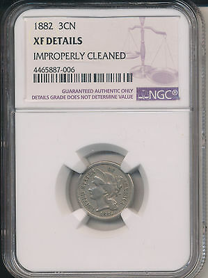 1882 Three Cent Piece **ngc Certified Xf Details-Only 22,000 Minted** Free Ship!