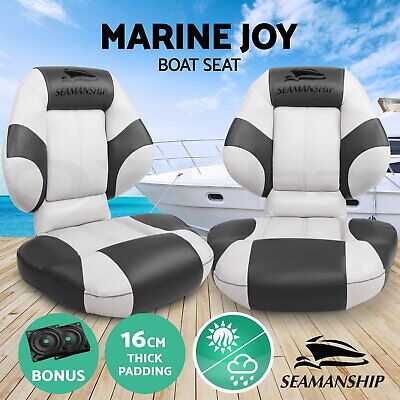 Seamanship 2 X Premium Boat Seats Seat Folding Cruise Fishing Seating White Grey