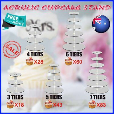 3/4/5/6/7 Tier Clear Acrylic Round Cake Cupcake Stand Wedding Birthday Party XT