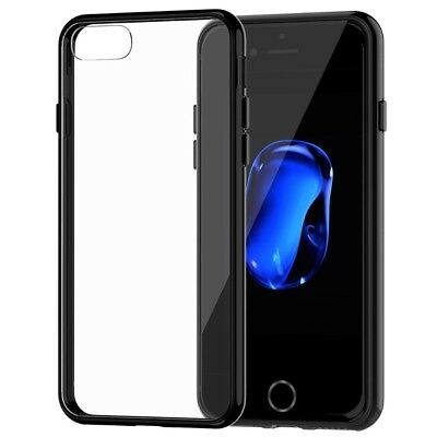 New Thin Electroplated Transparent Case Soft Cover For iPhone 6 6s-Black {du212